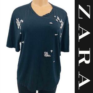 Zara Bling Rhinestone Tee Shirt